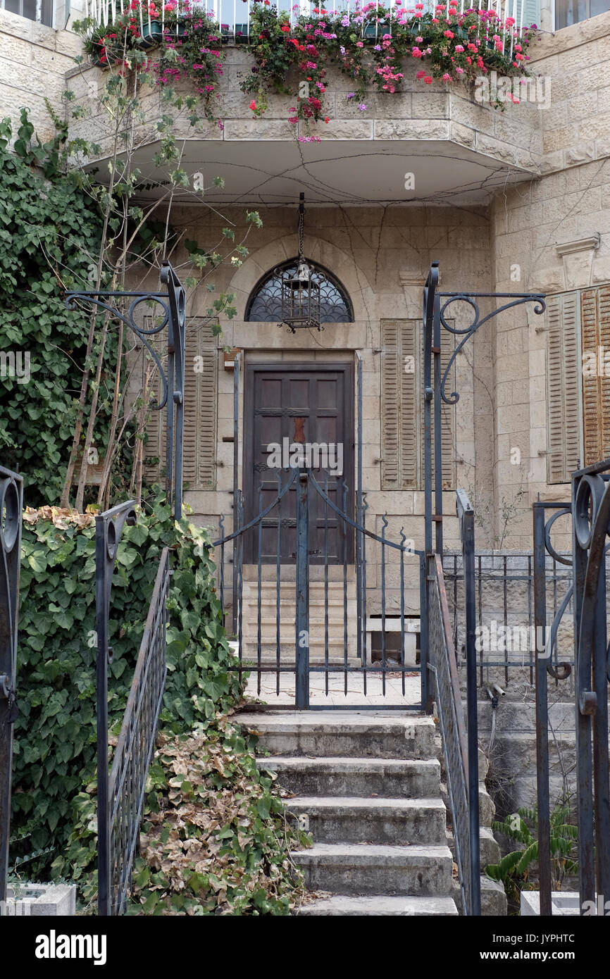 Doorway of the former Arab villa of Al-Khalili family located in 45 Rachel Imenu street in Katamon or Qatamon neighborhood Stock Photo