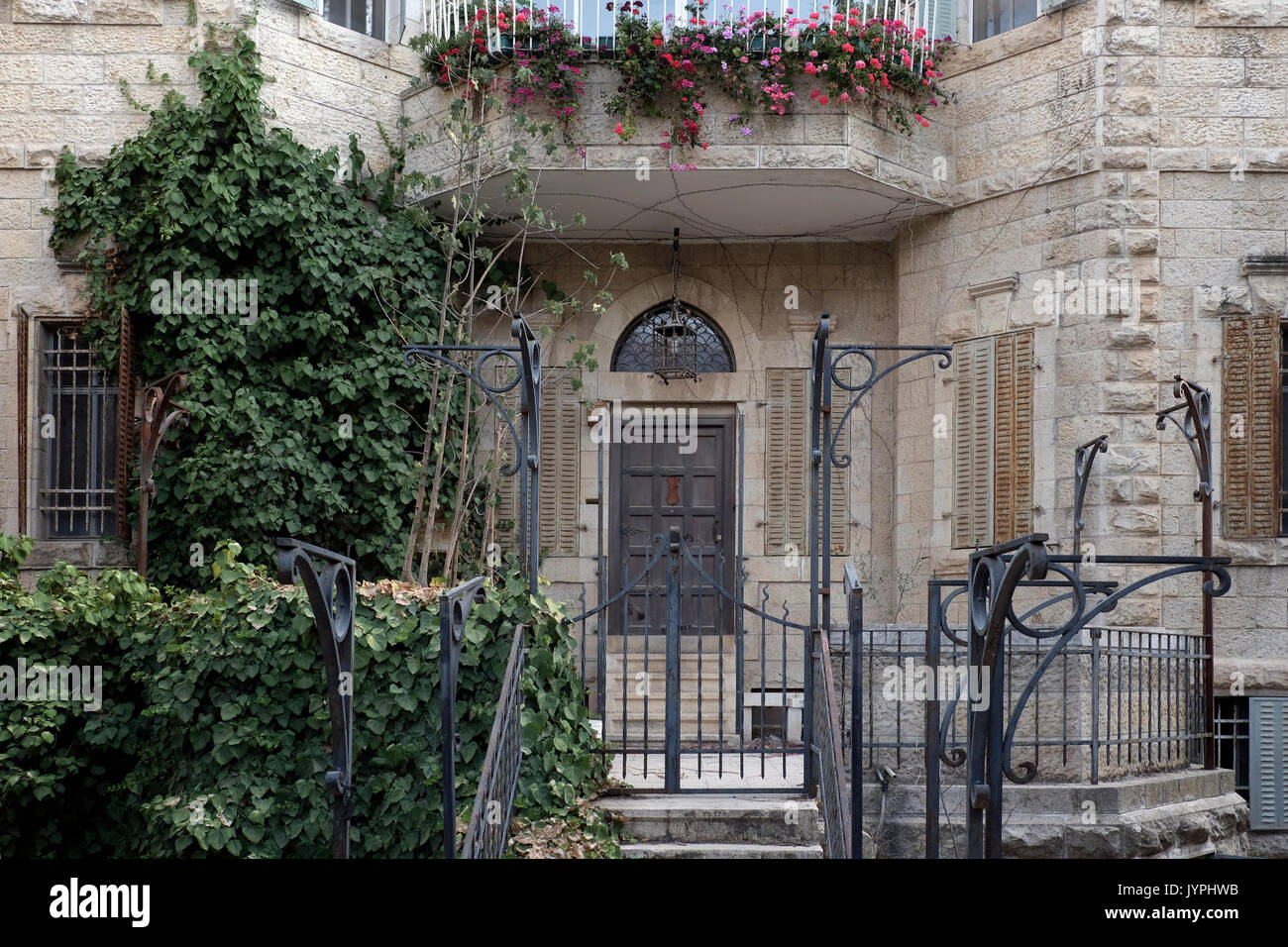 Facade of the former Arab villa of Al-Khalili family located in 45 Rachel Imenu street in Katamon or Qatamon neighborhood established in the early 20th century and was populated by wealthy Christian Arabs who fled during the 1948 Israel War of Independence. West Jerusalem Israel - Stock Image