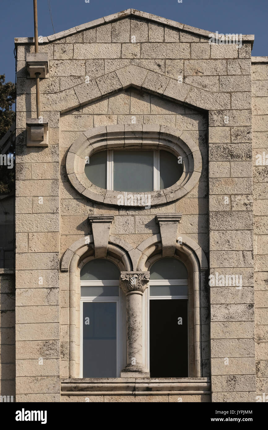 Facade of the former Arab house of Al Filat family located in 35 Emek Refaim street in the German Colony or HaMoshava HaGermanit a neighborhood established in the second half of the 19th century by members of the German Temple Society and was during the British Mandatory era largely populated by wealthy Arab Christians who fled or were expelled during the 1948 Israel War of Independence. West Jerusalem Israel - Stock Image