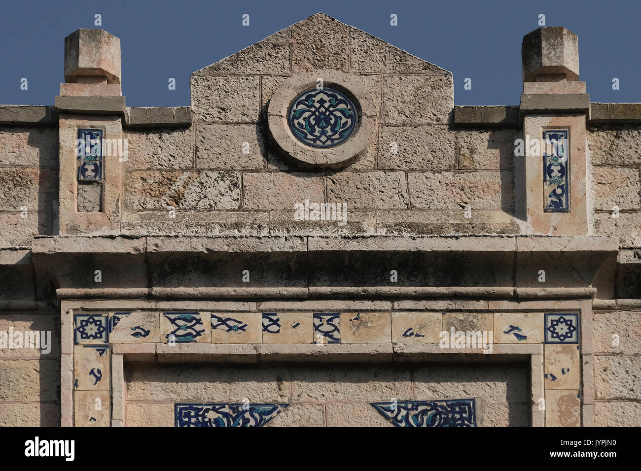 Tiles decorating facade of the former Arab house of Al Masu family located in 25 Emek Refaim street in the German Stock Photo