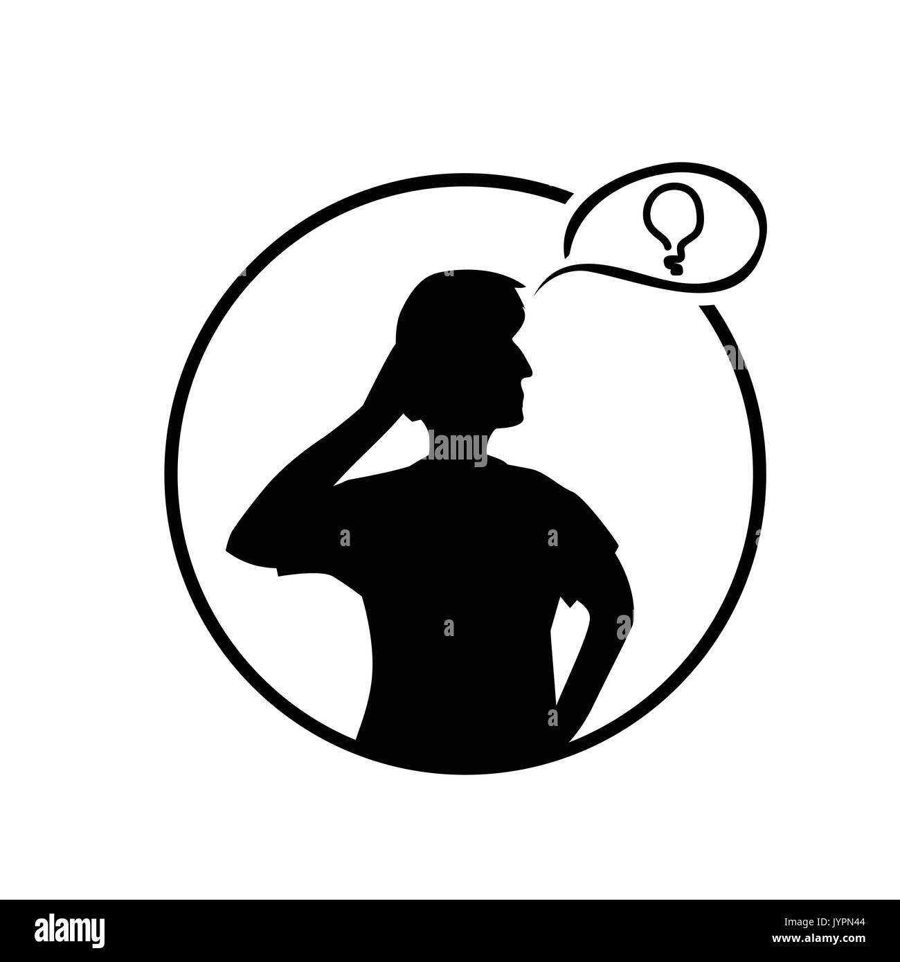 silhouette of person thinking with light bubble