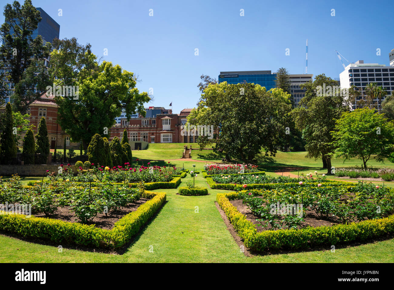 Flower Beds In Landscaped Gardens At Government House In Perth City,  Western Australia