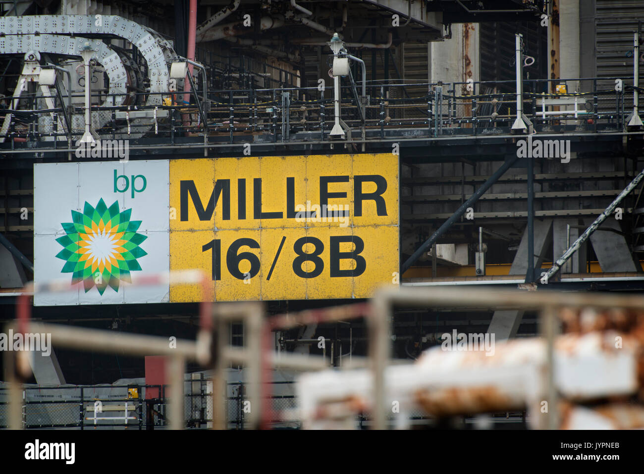 BP Miller North sea oil and gas platform. Taken on the Decommissioning project. credit: LEE RAMSDEN / ALAMY - Stock Image