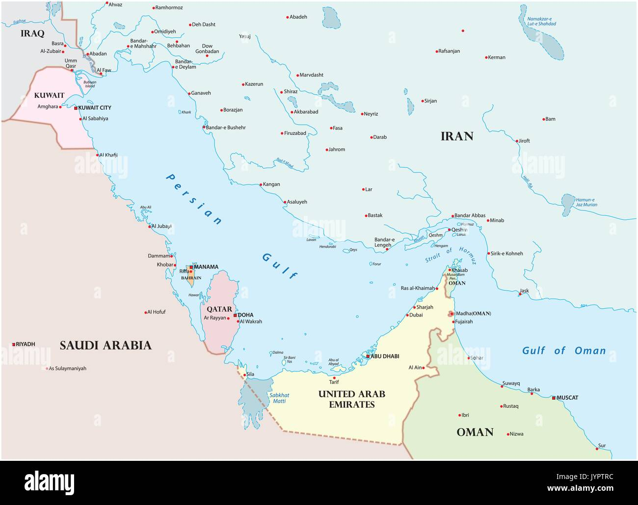 Persian Gulf Map Stock Photos & Persian Gulf Map Stock