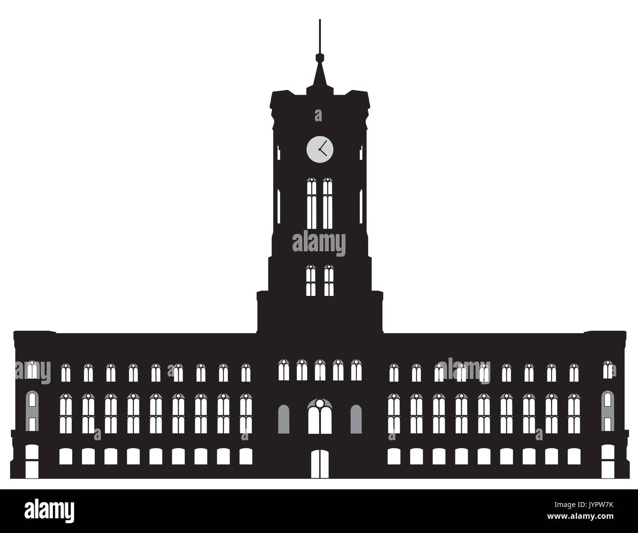 Black and white silhouette of the Berlin red town hall - Stock Image