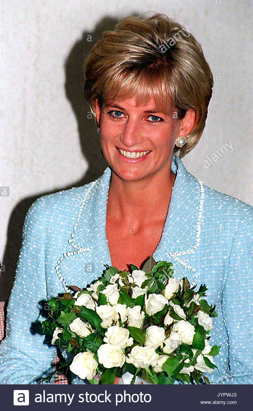 """Embargoed to 0001 Monday August 21 File photo dated 21/4/97 of Diana, Princess of Wales, whose warmth, compassion and empathy for those she met earned her the description the """"people's princess"""". - Stock Image"""