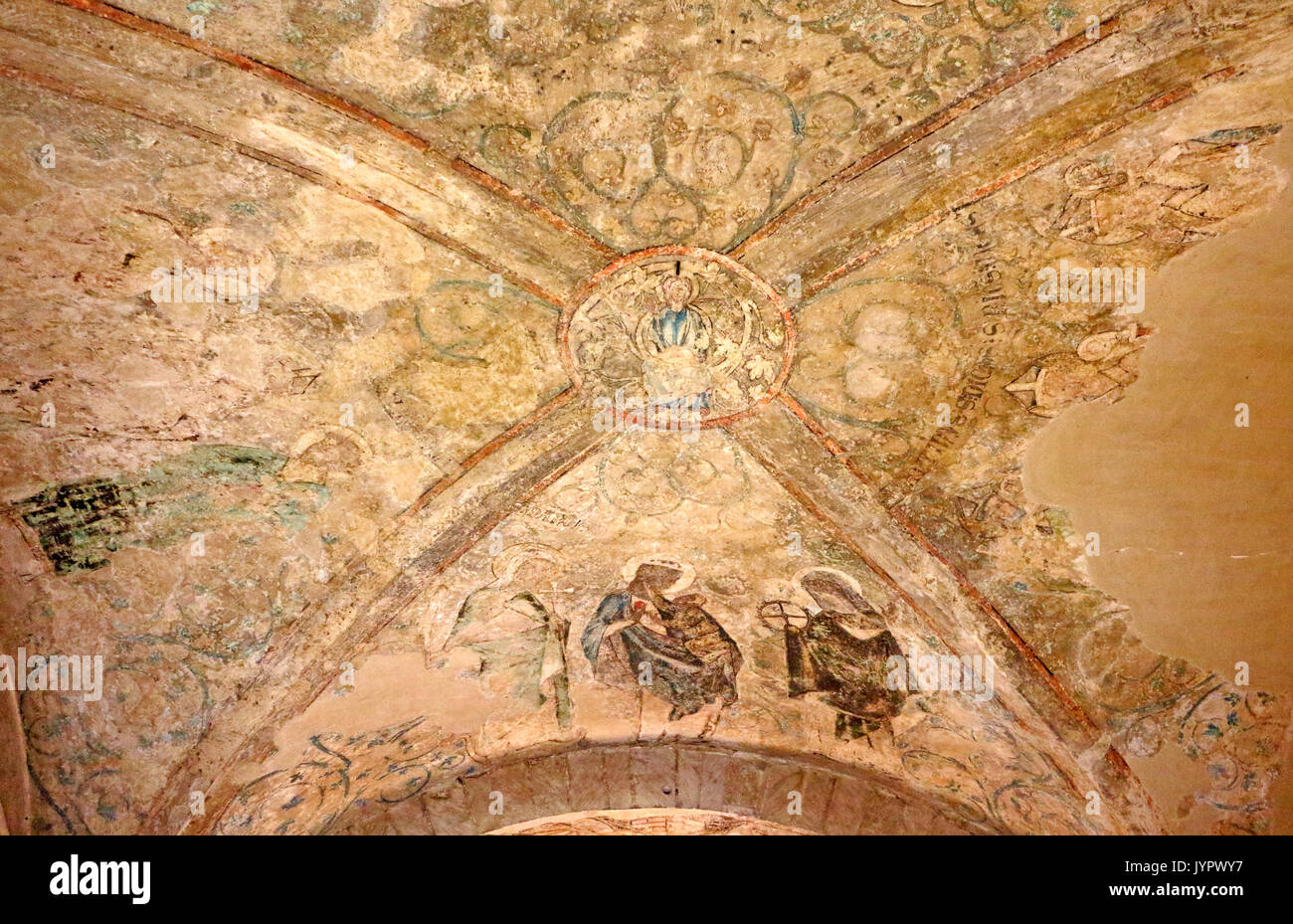 A view of medieval painting on the ceiling of the Treasury in the Anglican Cathedral in the City of Norwich, Norfolk, England, United Kingdom. - Stock Image