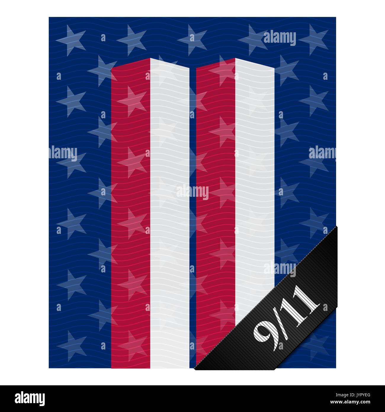 Patriot Day. Vector poster in memory of terrorist attack upon World Trade Center in New York. Stars and stripes of US flag in the form of twin towers. - Stock Vector