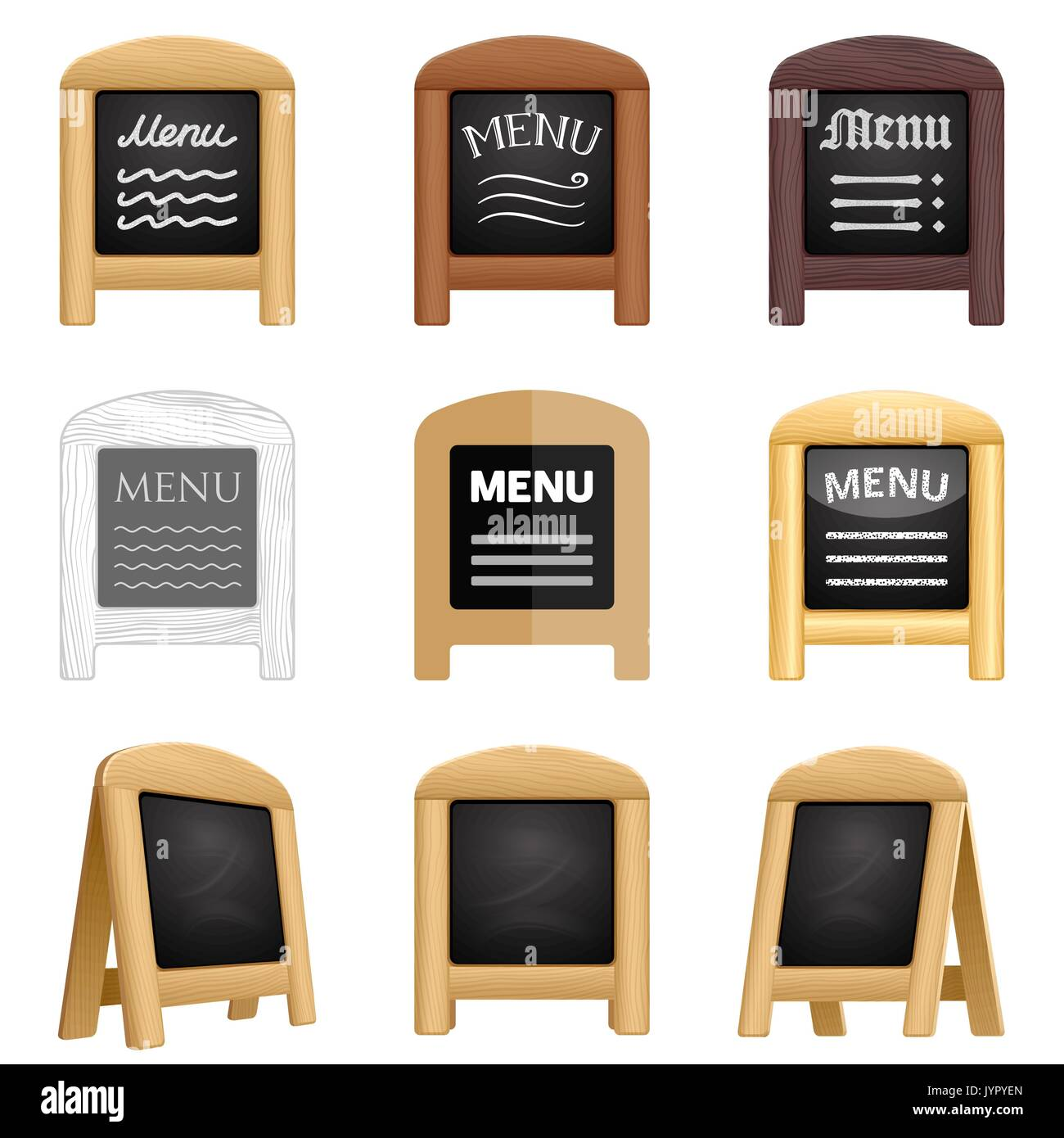 Set of restaurant blackboard menu icons. Various sidewalk sandwich boards with a wooden frame and chalk. 3d realistic blank folding signs for eatery. Stock Vector