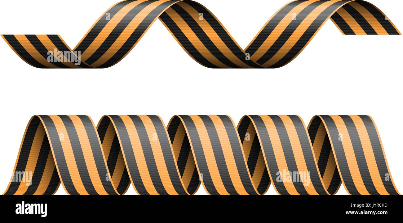 Vector striped St George ribbon isolated on white background. - Stock Vector