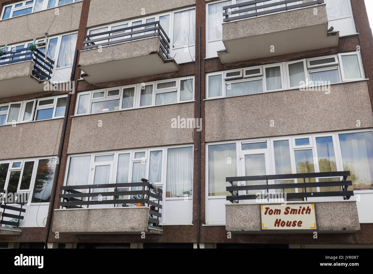 View of exterior of Tom Smith House in Walthamstow, North-East London. - Stock Image