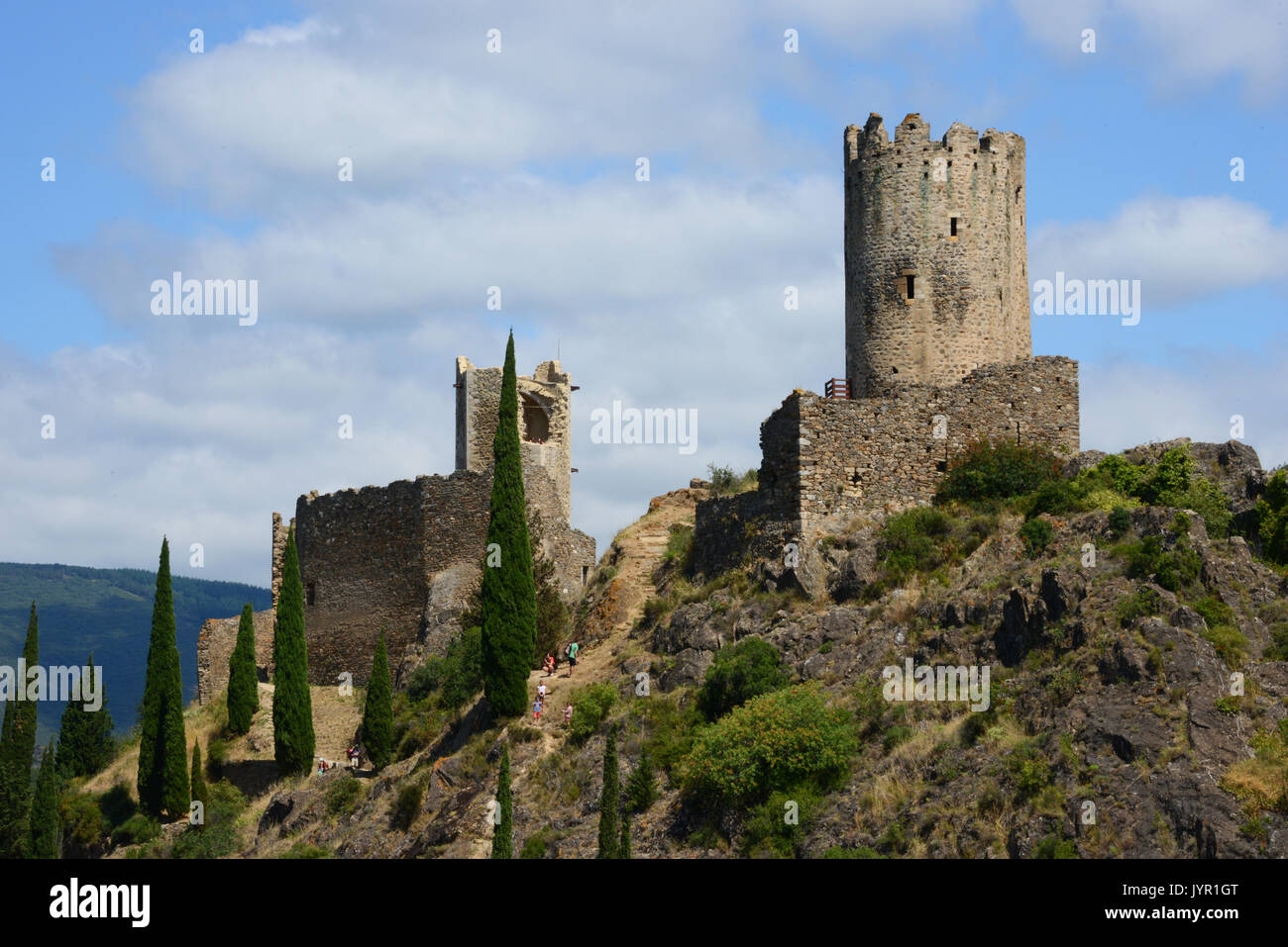 Cathar castles, Lastours, France Stock Photo   Alamy