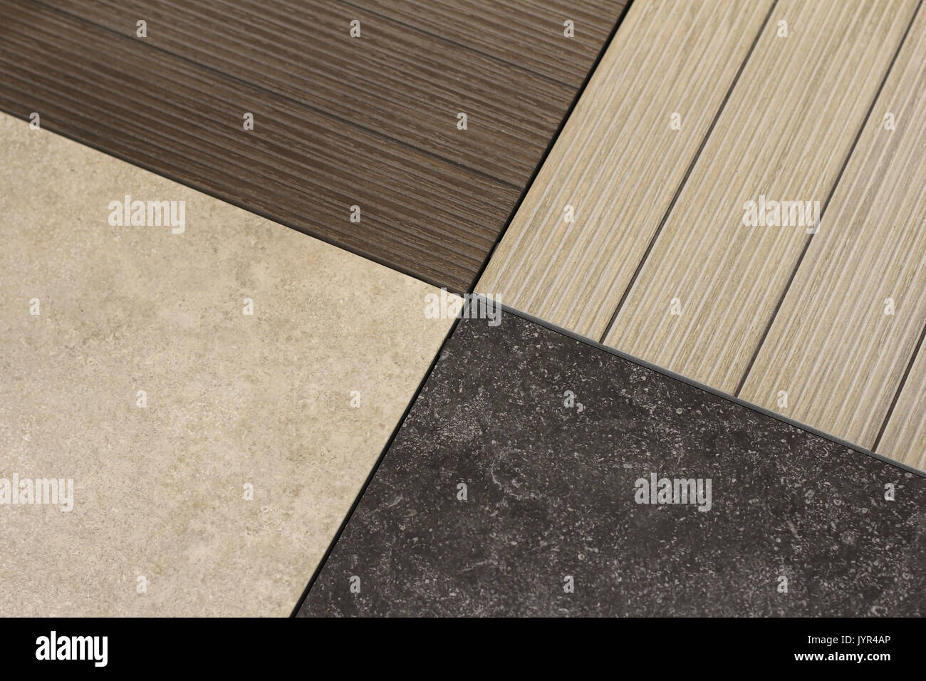 Material samples detail for room interior floors - Stock Image