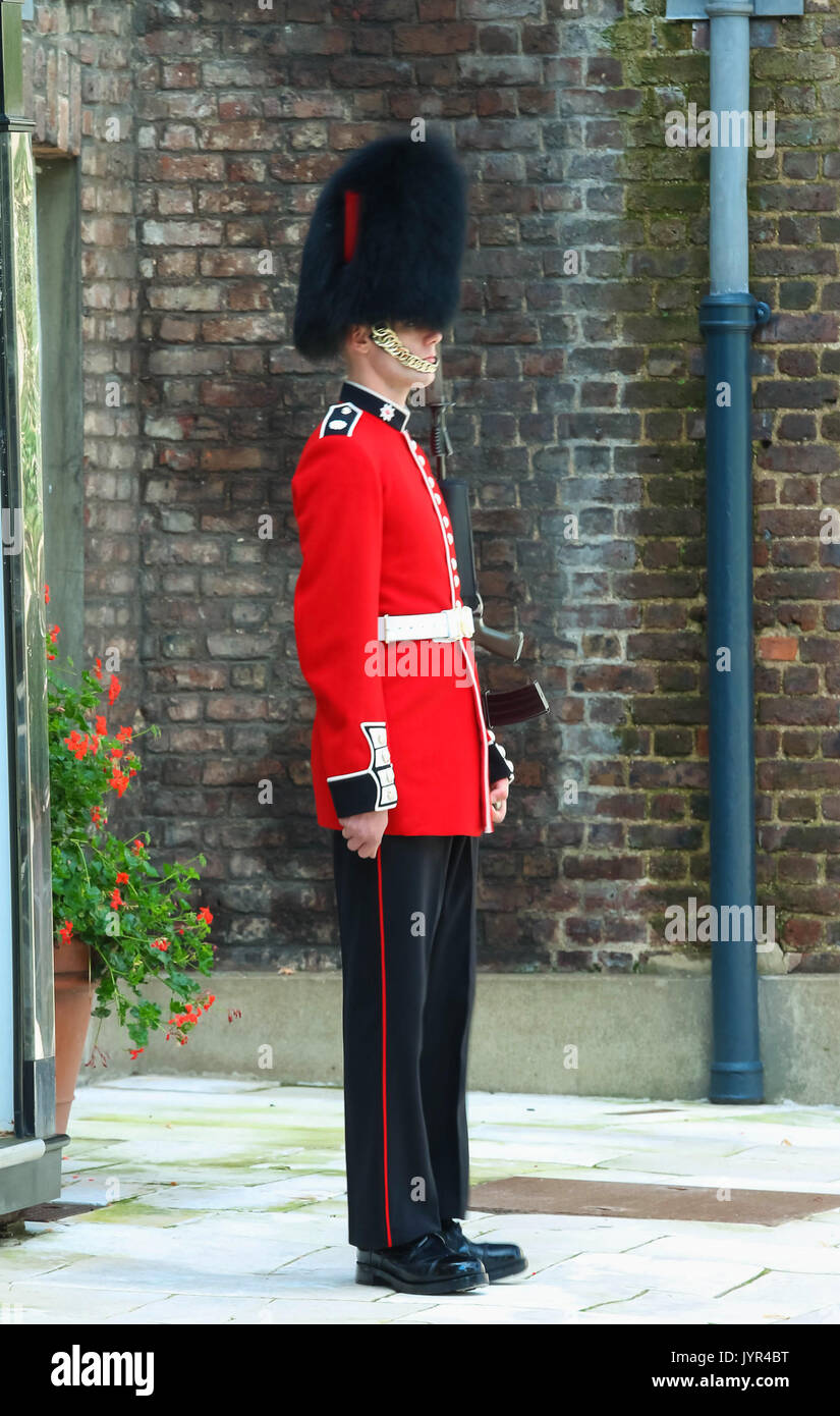 The British Royal guard in the London Tower on guard duty ...
