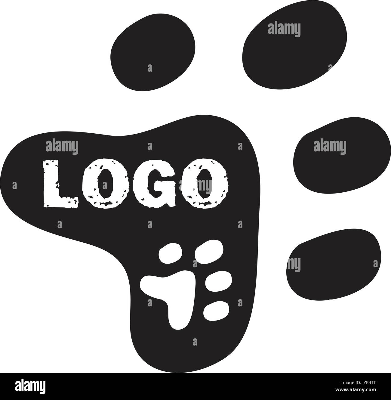 Vector logo design. Can be used for companies such as veterinary clinic, animal shelter, pet shop or animal adoption or animal boarding house. - Stock Image