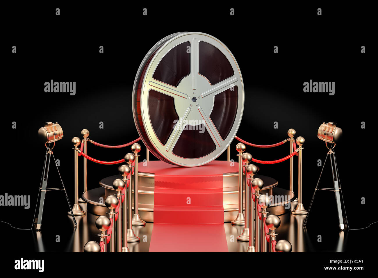 Podium with film reel, presentation concept. 3D rendering isolated on black background - Stock Image