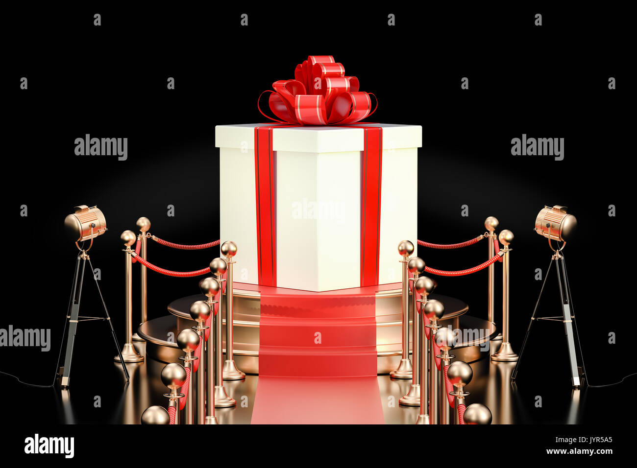 Podium with gift box, 3D rendering isolated on black background - Stock Image