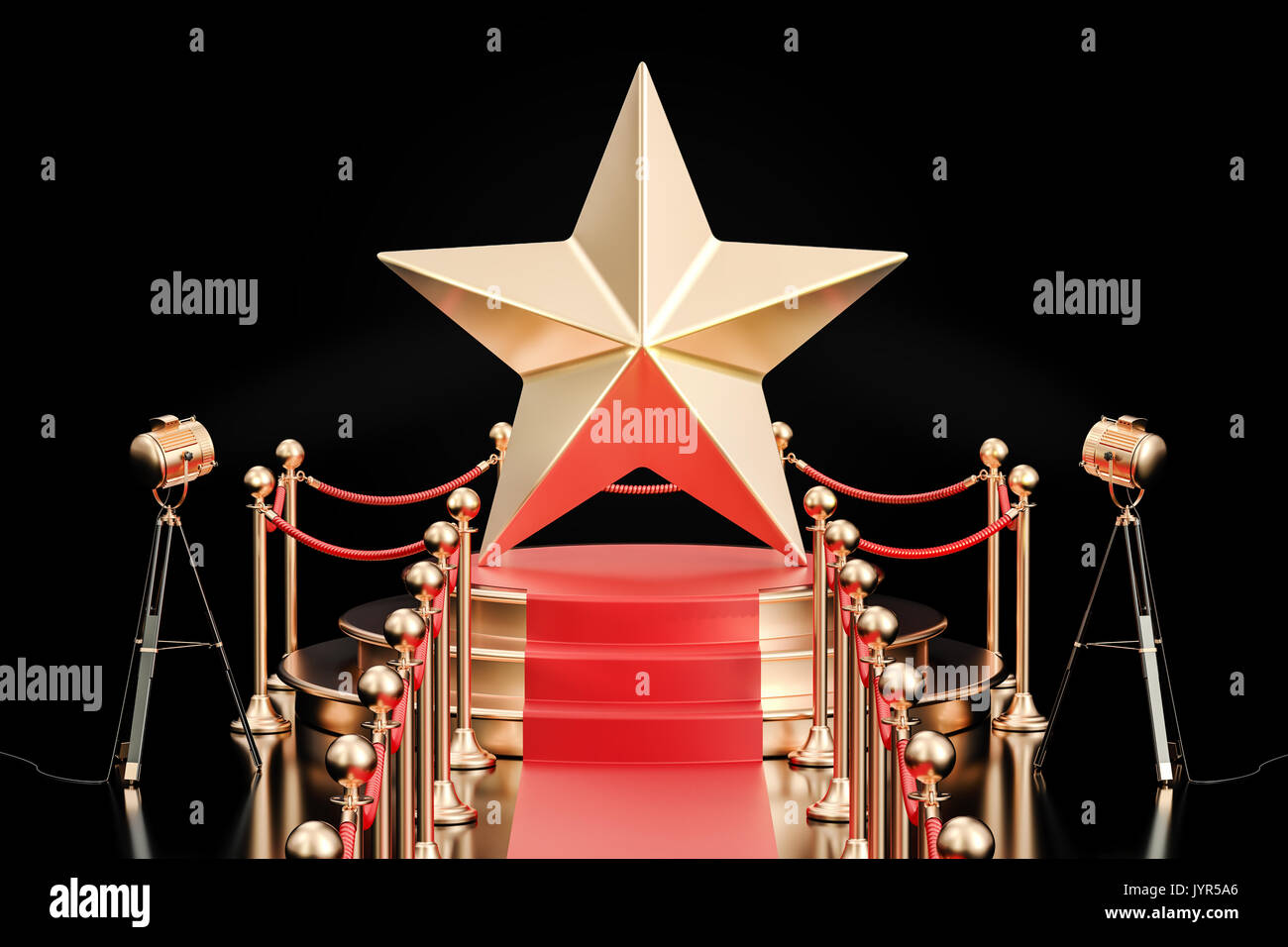 Podium with golden star, 3D rendering isolated on black background - Stock Image
