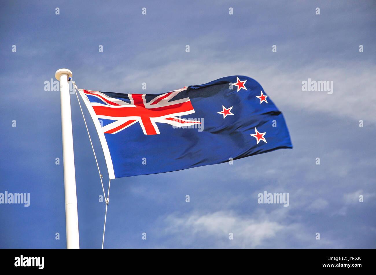 New Zealand flag, The Museum of New Zealand Te Papa Tongarewa, Cable Street, Wellington, Wellington Region, New Zealand - Stock Image