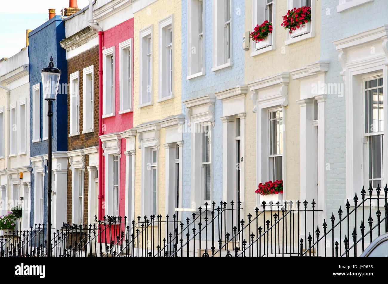Terraced houses, Hillgate Place, Kensington, London Borough of Kensington and Chelsea, Greater London, England, United Kingdom - Stock Image