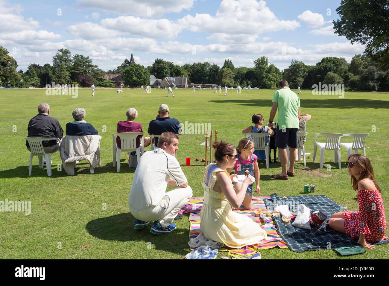 Saturday match at Chorleywood Cricket Club, Chorleywood, Hertfordshire, England, United Kingdom - Stock Image