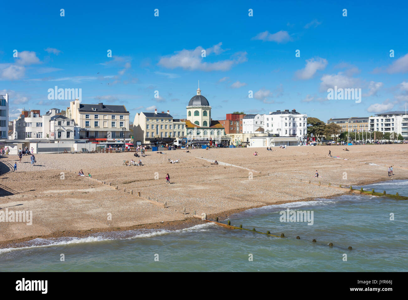 Beach and promenade from Worthing Pier, Worthing, West Sussex, England, United Kingdom - Stock Image