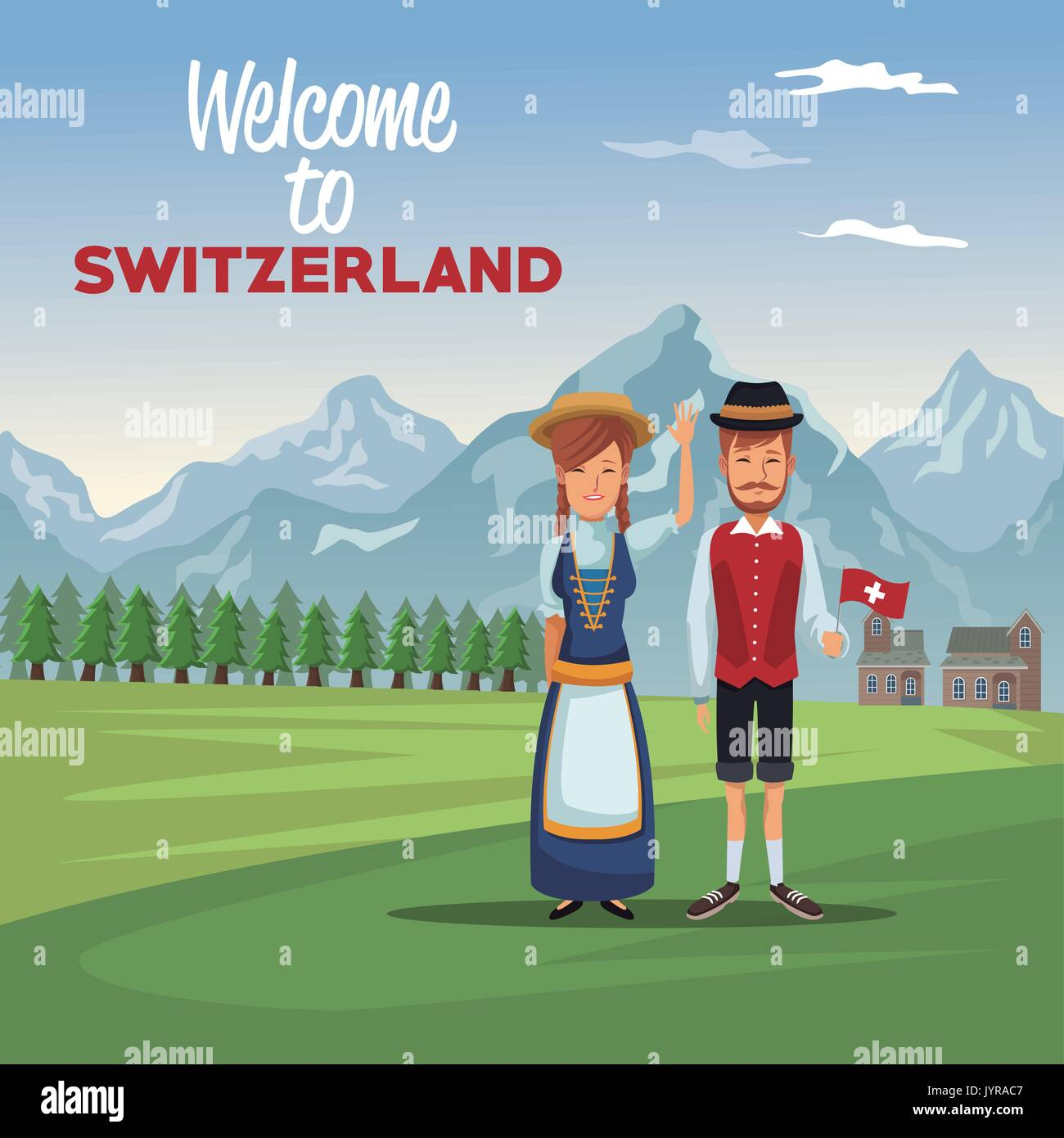 acaa248a1 mountain landscape valley poster with traditional people with text welcome  to switzerland