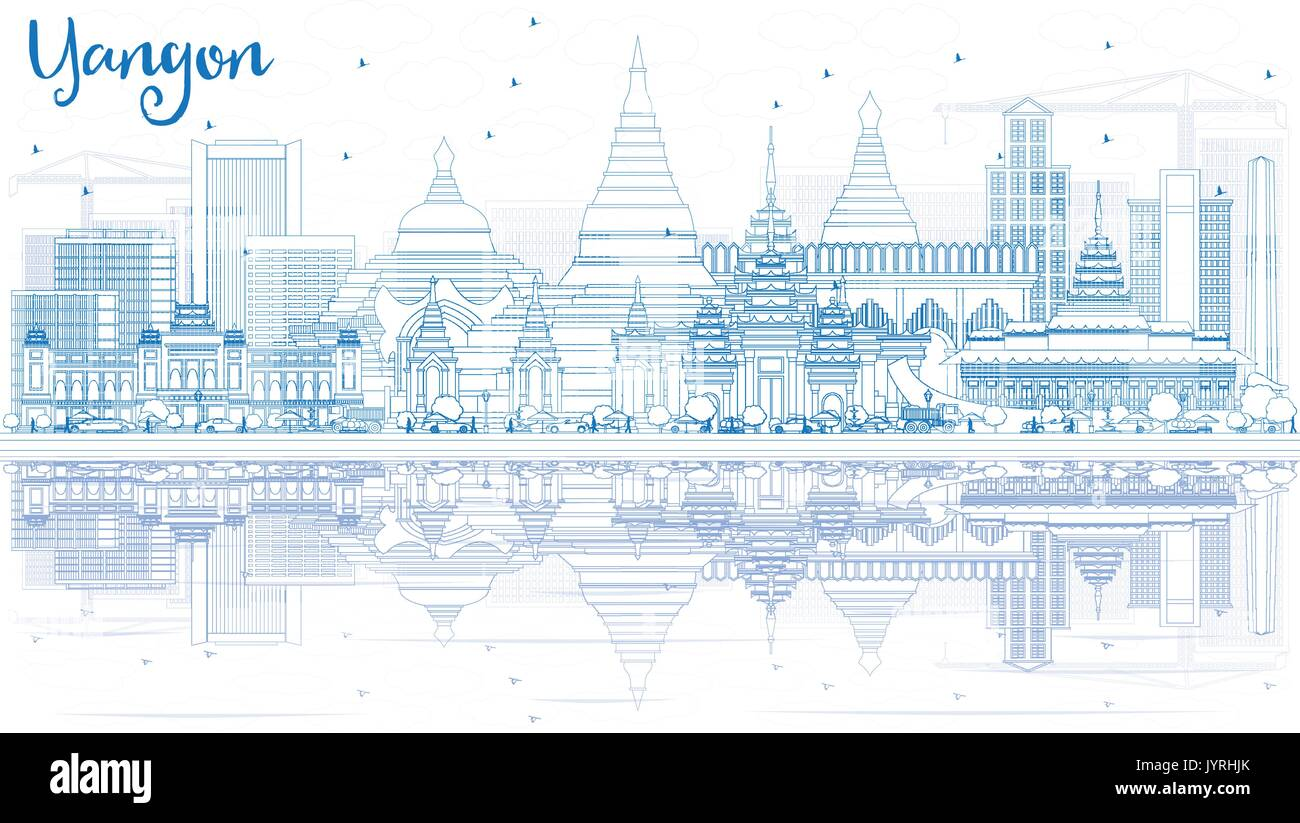 Outline Yangon Skyline with Blue Buildings and Reflections. Vector Illustration. Business Travel and Tourism Concept with Historic Architecture. - Stock Vector