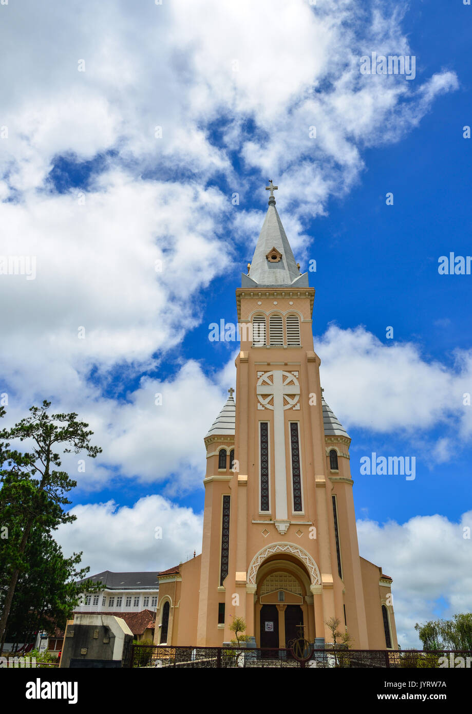 Nicholas of Bari Cathedral (Church of Chicken) in Dalat Vietnam. It is a Roman Catholic cathedral seat of the diocese of Da Lat suffragan of the Archd - Stock Image