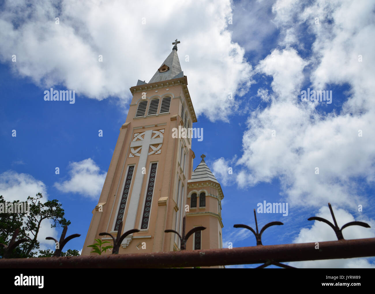 Top of Nicholas of Bari Cathedral (Church of Chicken) in Dalat Vietnam. It is a Roman Catholic cathedral seat of the diocese of Da Lat suffragan of th - Stock Image