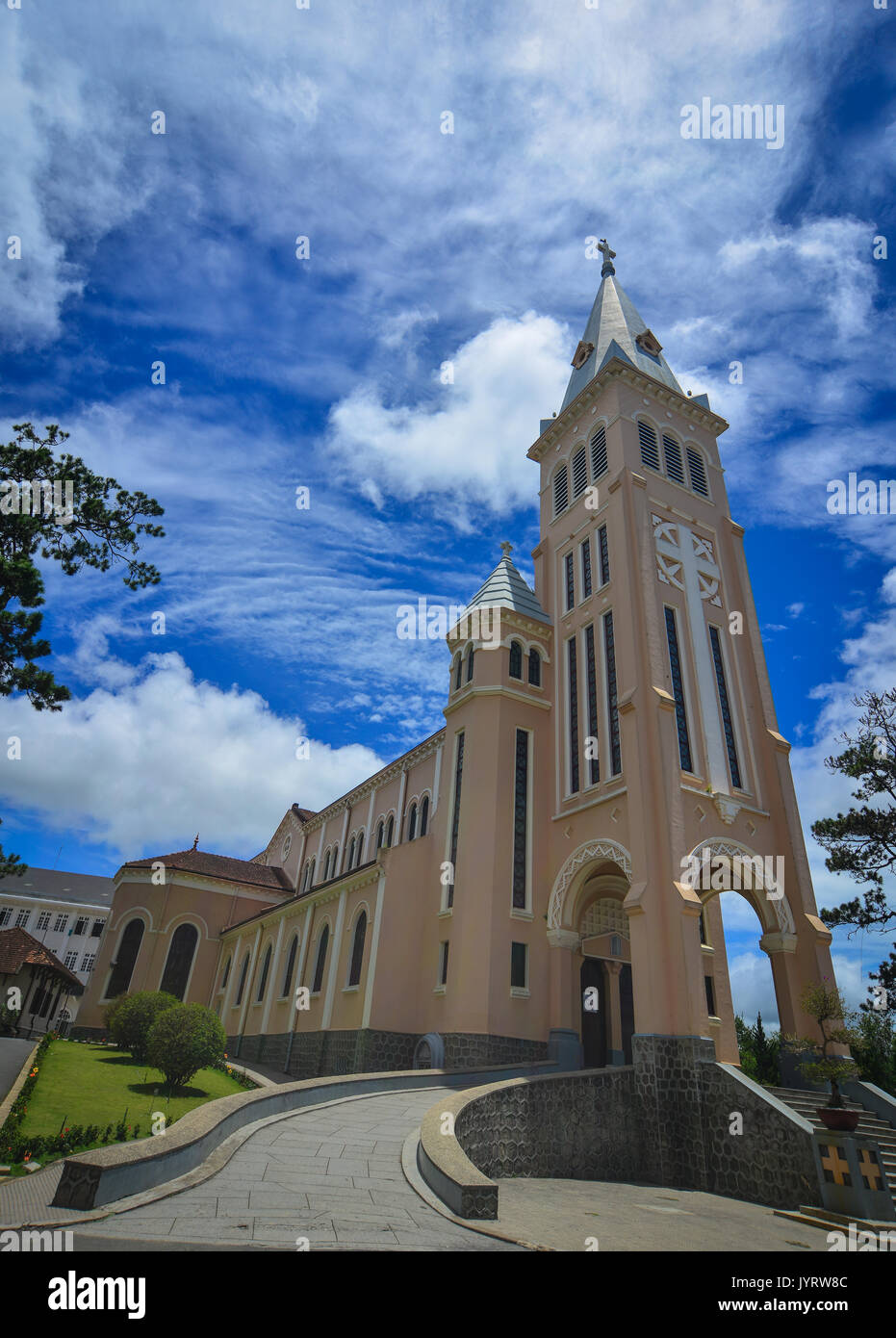 View of Nicholas of Bari Cathedral (Church of Chicken) in Dalat Vietnam. It is a Roman Catholic cathedral seat of the diocese of Da Lat suffragan of t - Stock Image