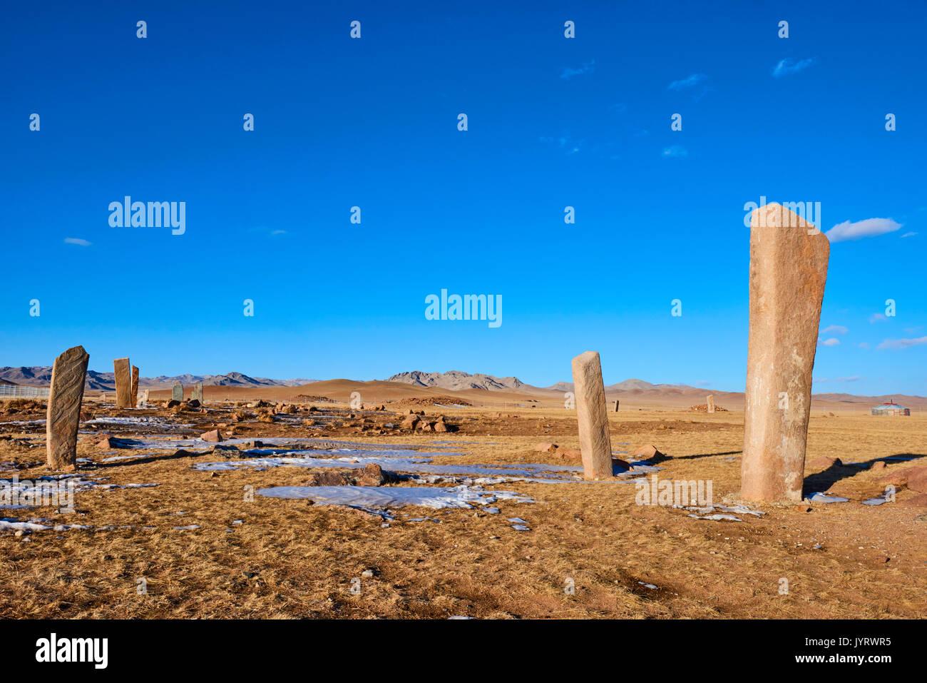 Mongolia, Khuvsgul province, Moron, group of Deer Stones of Uushigiin Uver - Stock Image