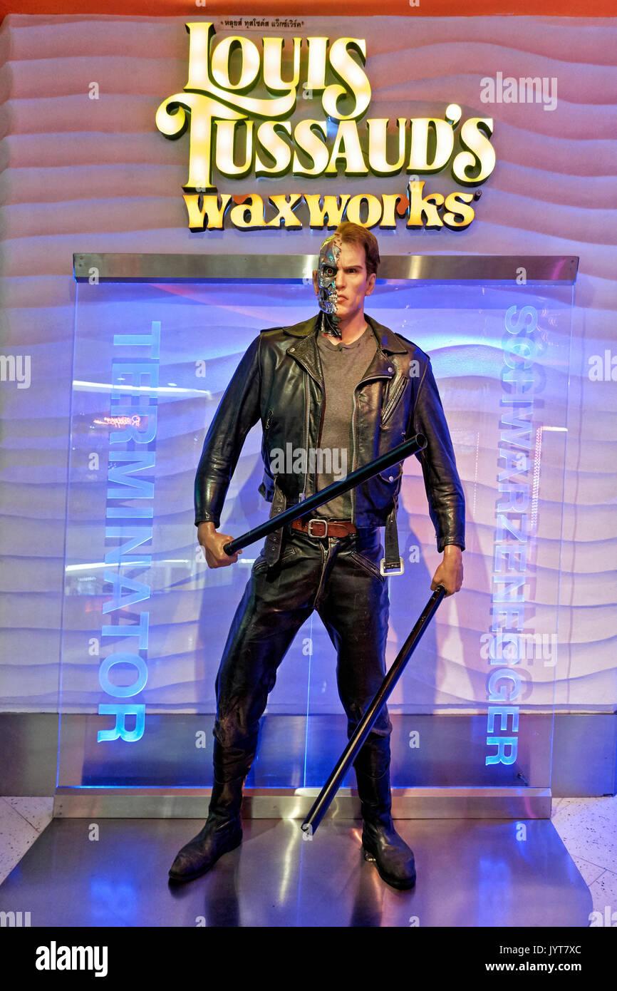 Terminator waxwork. Louis Tussauds waxworks, Pattaya, Thailand Southeast Asia Stock Photo