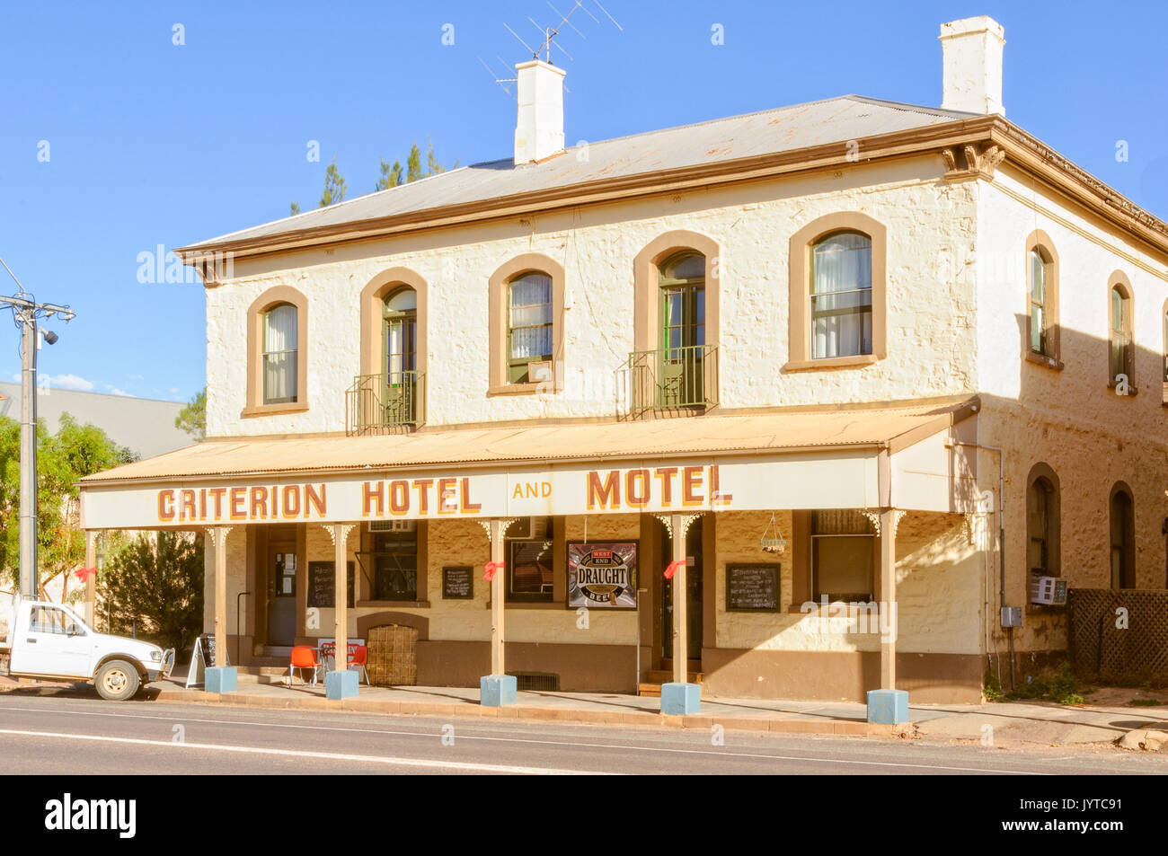 The Criterion Hotel Motel does not seem to have  changed much since 1880 - Quorn, SA, Australia - Stock Image