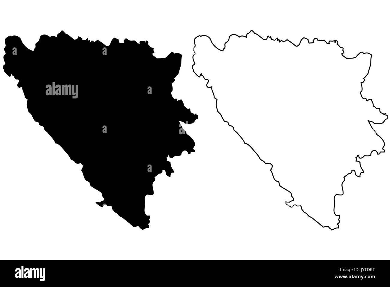Bosnia and Herzegovina map vector illustration, scribble sketch Bosnia and Herzegovina - Stock Image