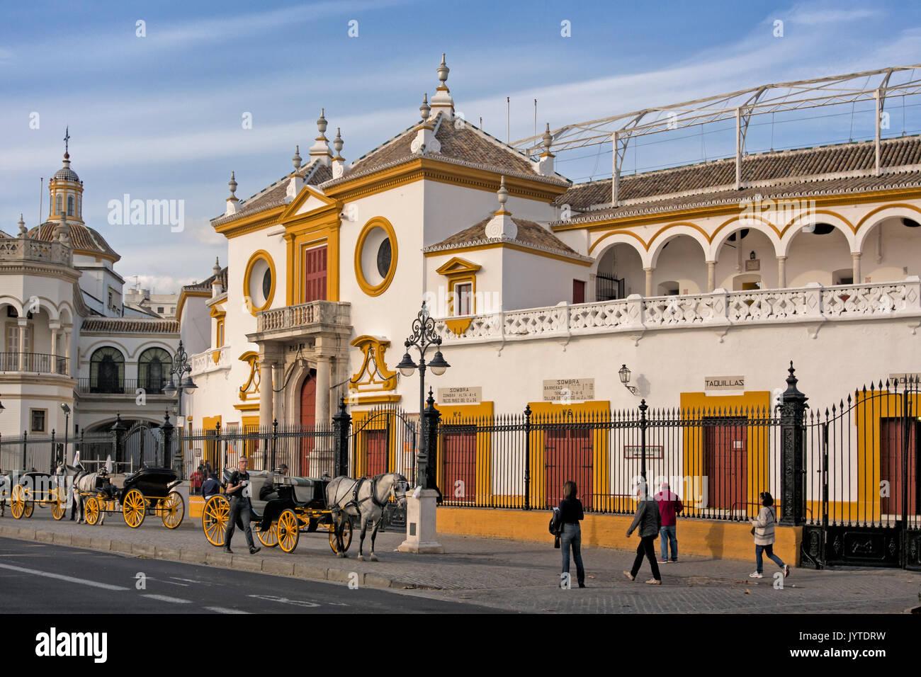 SEVILLE SPAIN:  View of Real Maestranza de Caballeria de Sevilla Bullring Stock Photo