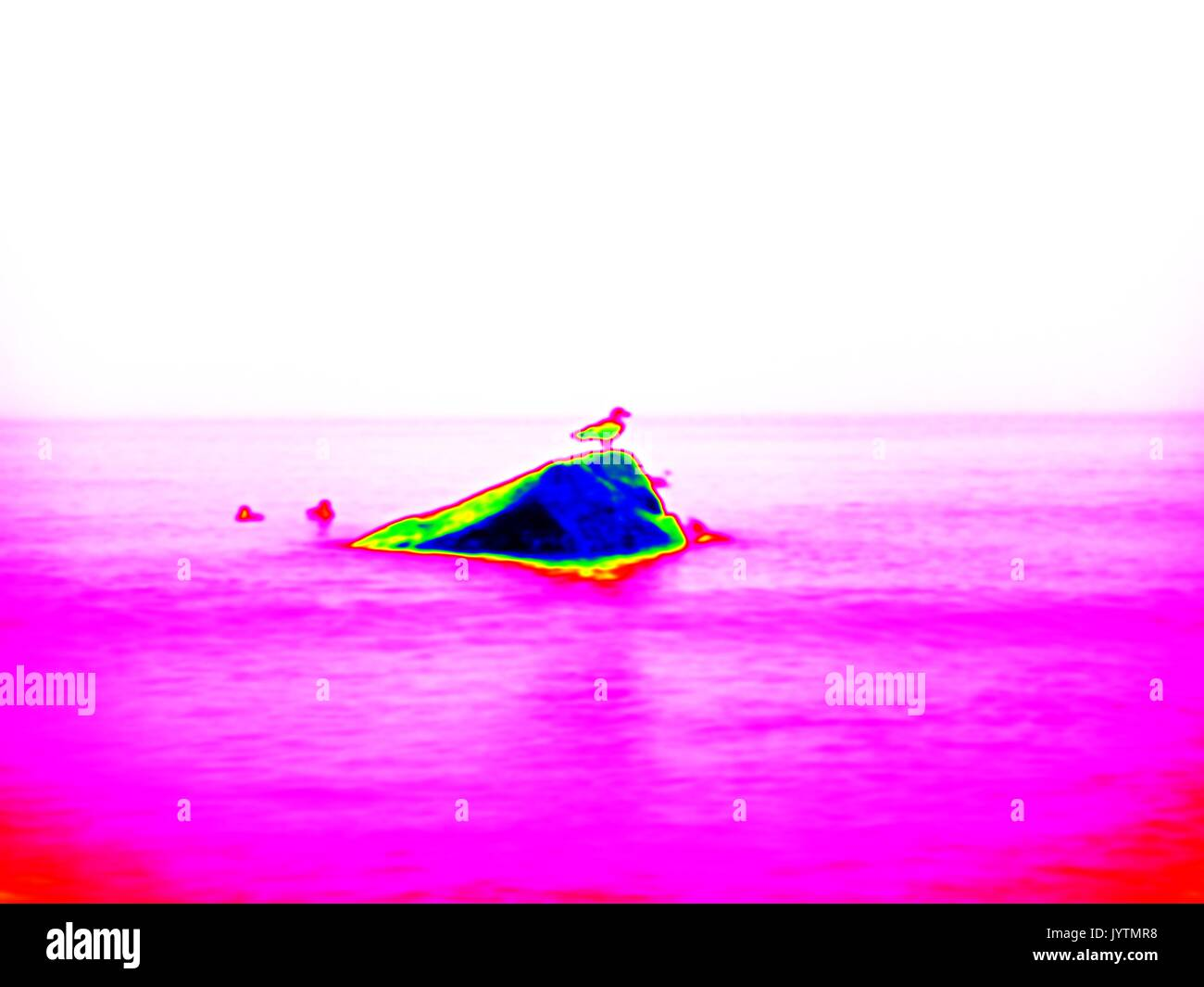 Thermography measurement, changed colors of ultra violet light. Stony ocean beach with big boulders. Thermography effect. - Stock Image