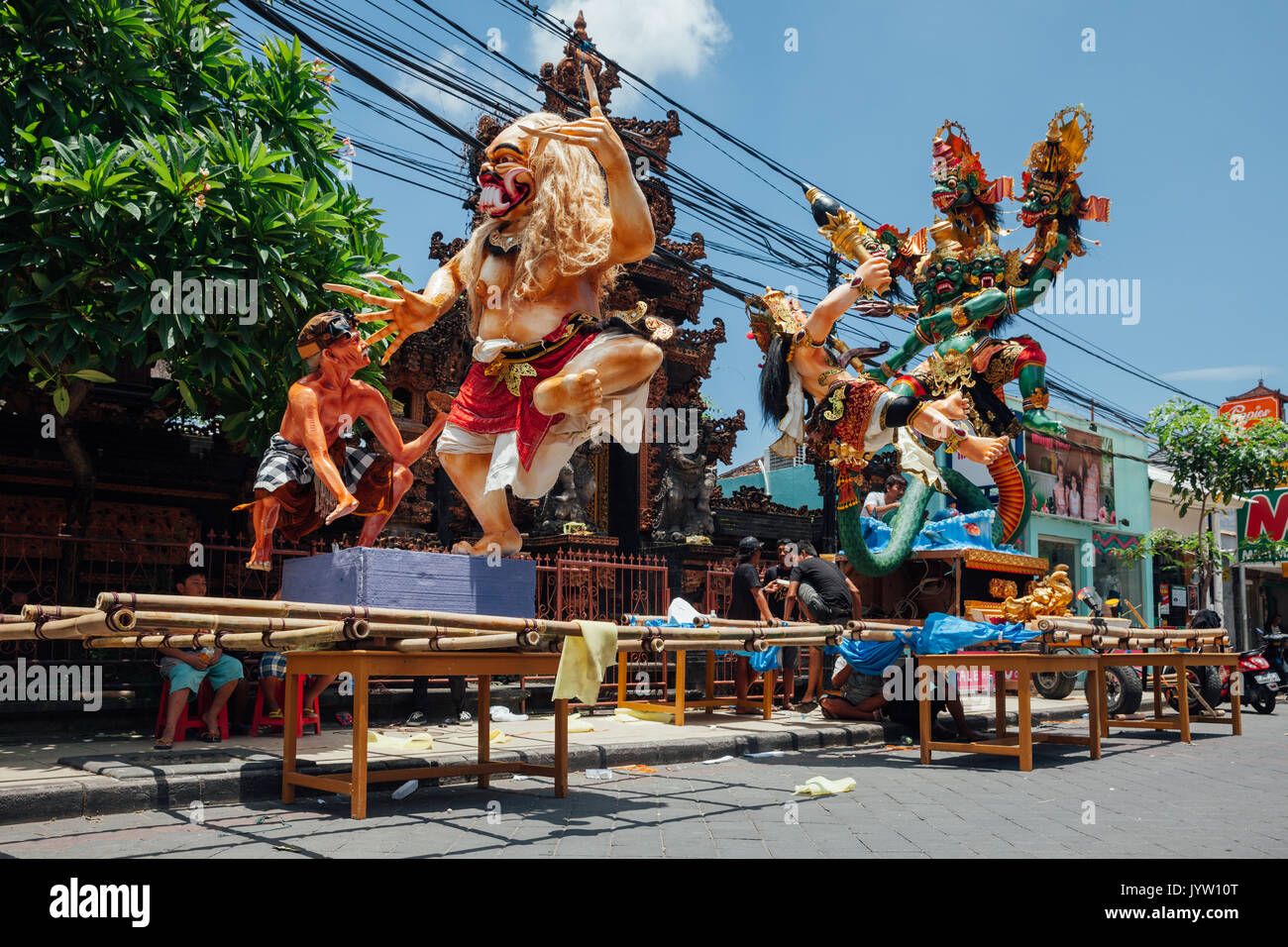 Bali, Indonesia - March 08, 2016:   Ogoh-Ogoh statues being prepared for the parade during Balinese New Year celebrations Stock Photo