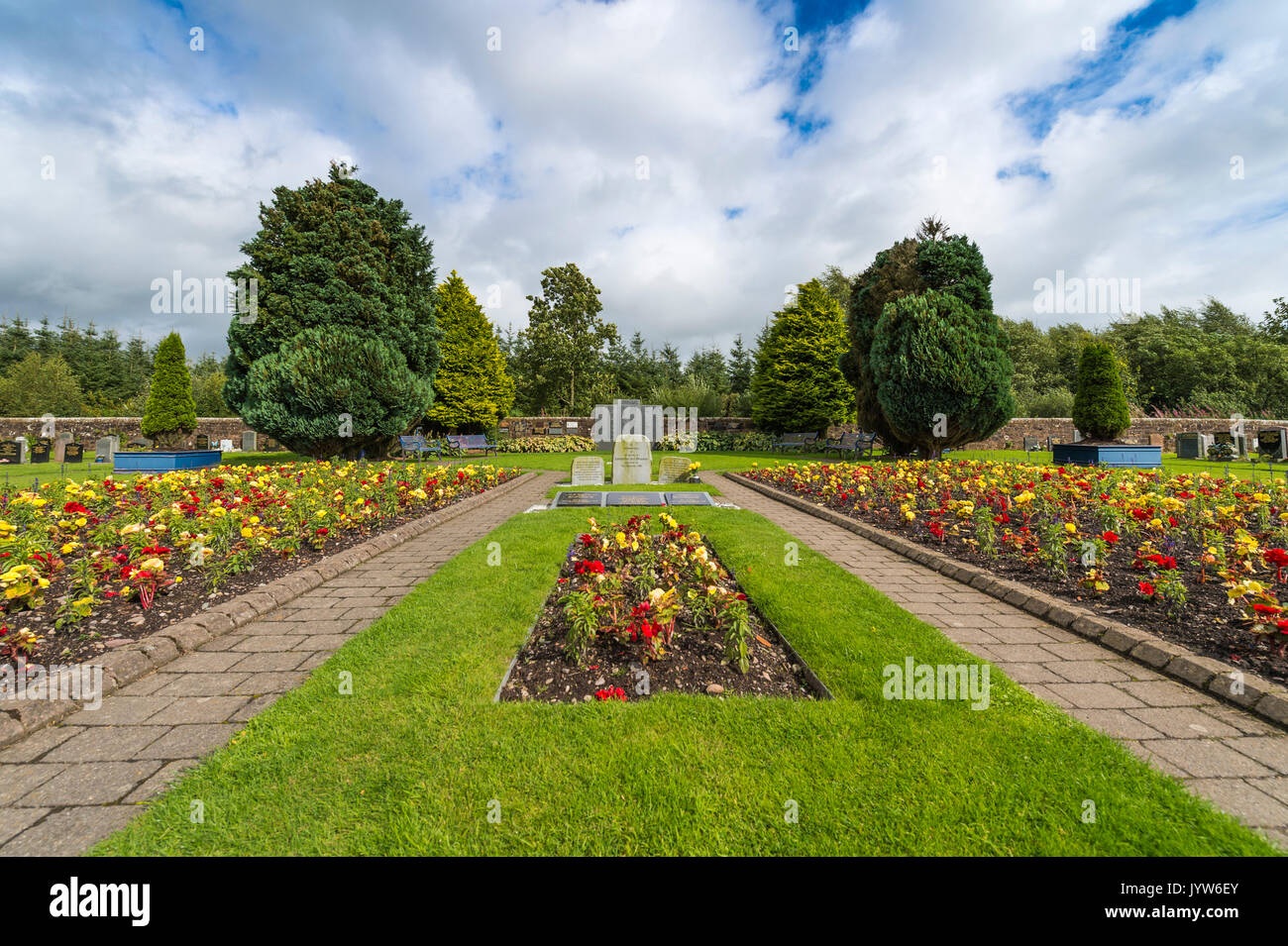 Lockerbie, Scotland, UK - August 19, 2017: The garden of remembrance for the victims of the Lockerbie air disaster in Dryfesdale cemetery, Lockerbie.  - Stock Image