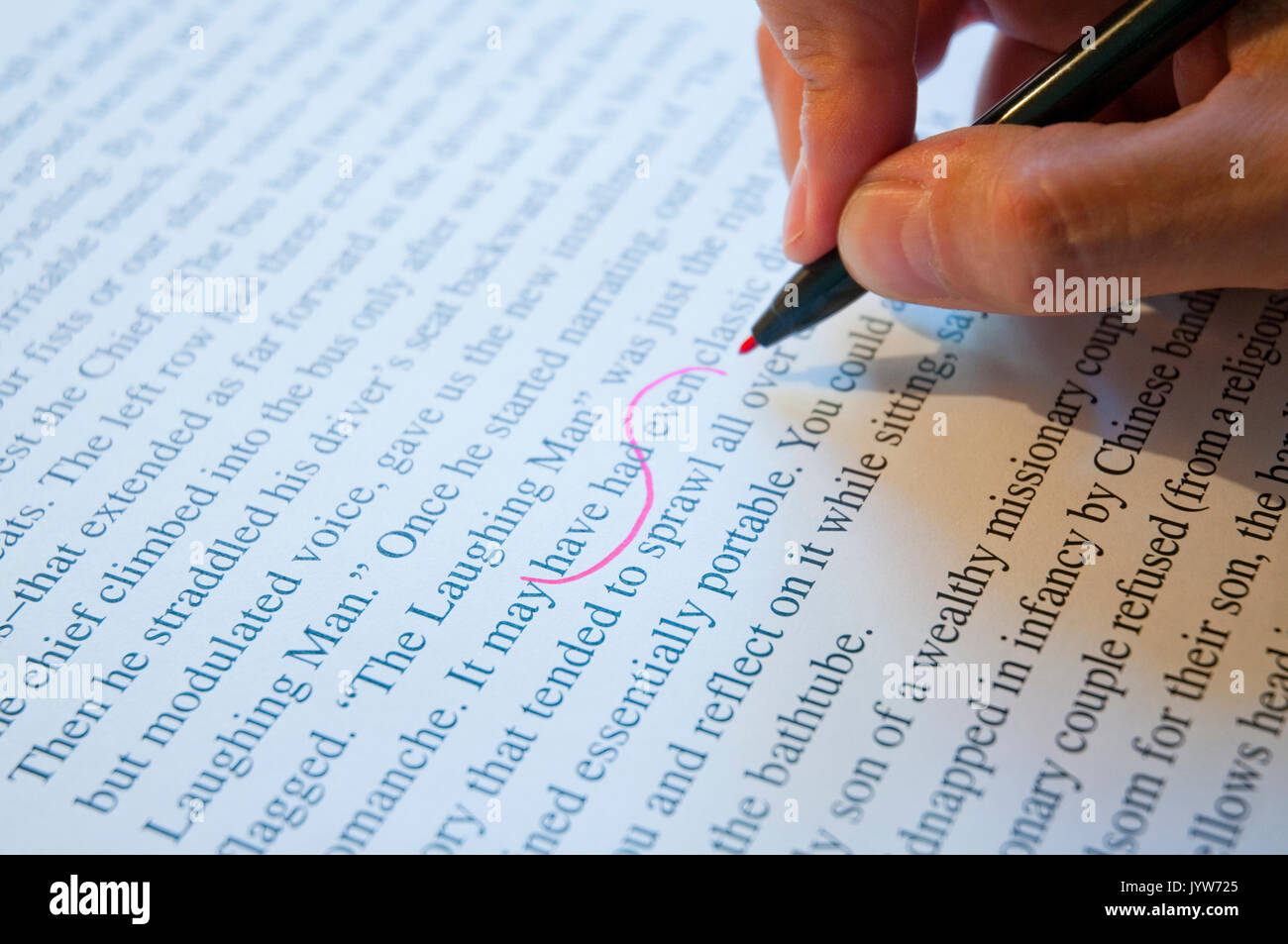 Text correction. Close view. - Stock Image