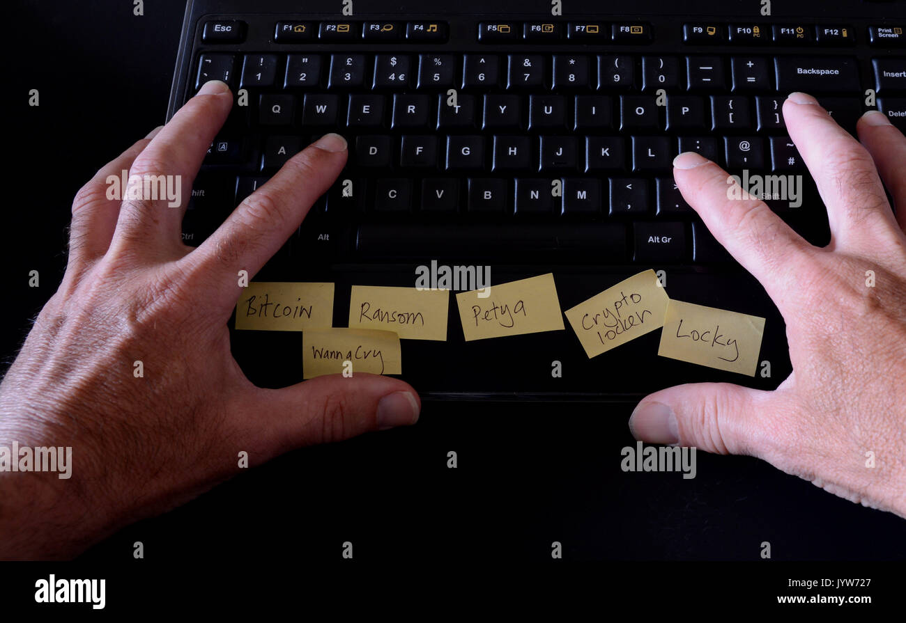 Man typing on computer keyboard with post it notes on depicting ransomware names - Stock Image