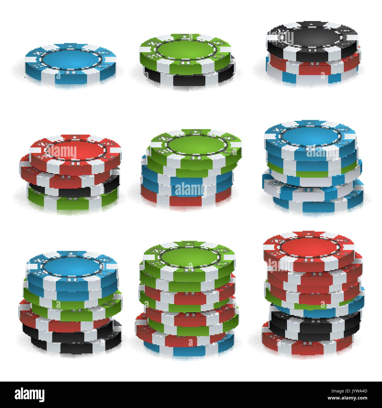 poker chips stacks vector plastic white red black blue green casino chips illustration for online casino gambling club poker billboard