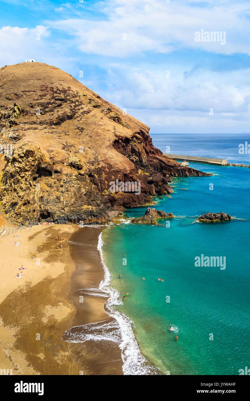 View of beautiful Prainha beach near Canical town, Madeira island, Portugal - Stock Image