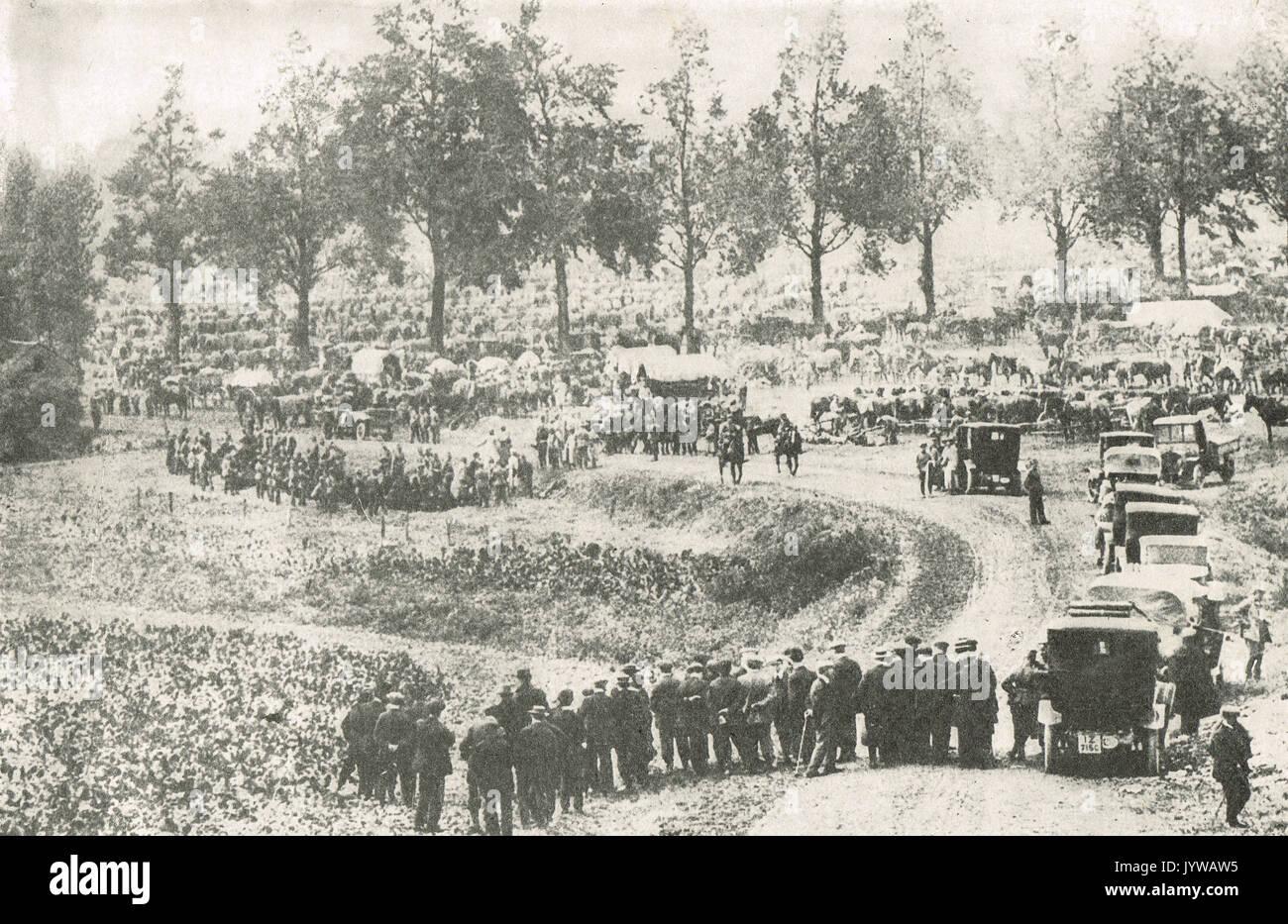 Massed  German Army in Belgium 1914, WW1 - Stock Image