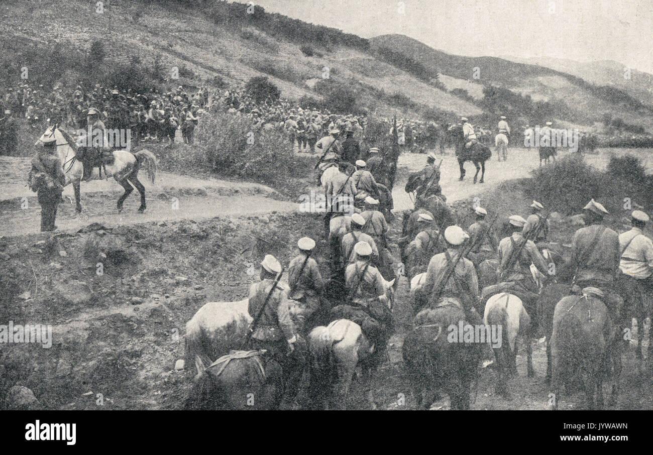 Russian Cossacks in the field, WW1 Stock Photo