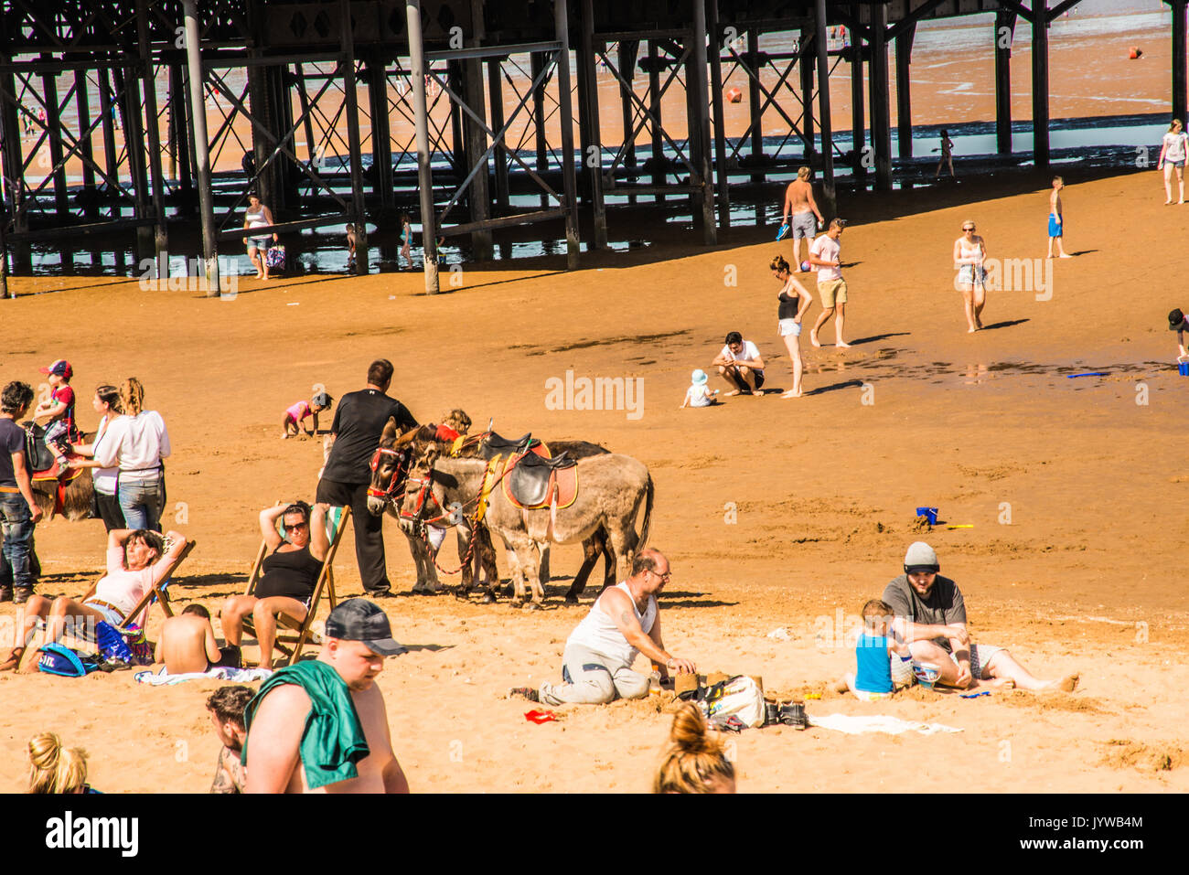 playing on the beach  Yorkshire  Ray Boswell - Stock Image