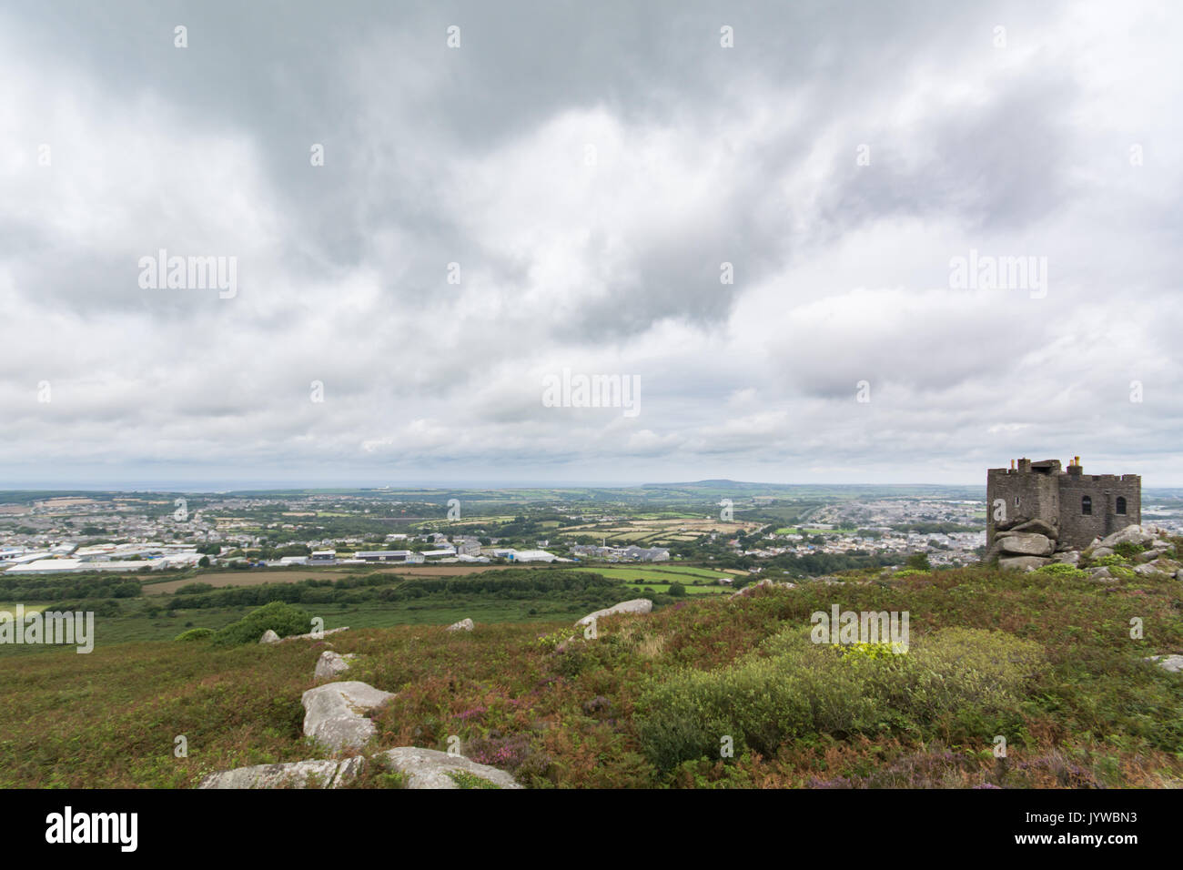 The view from the top of Carn Brea in Redruth, looking out over Cornwalls mining areas. - Stock Image