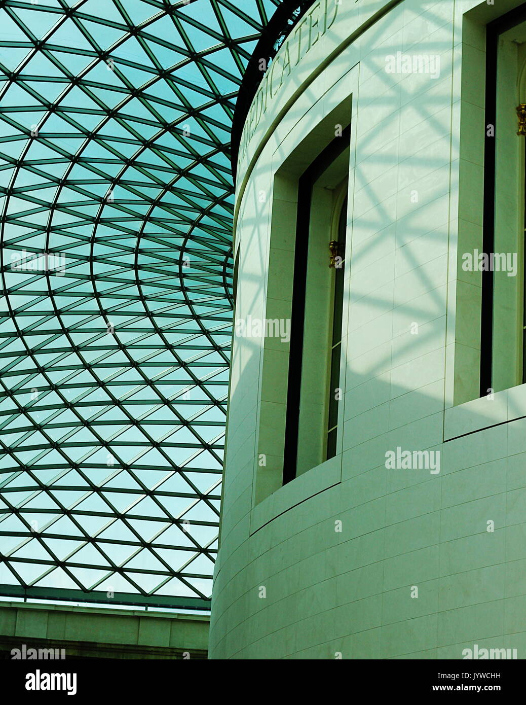 Light filtering through the glass ceiling in the Great Court, British Museum - Stock Image