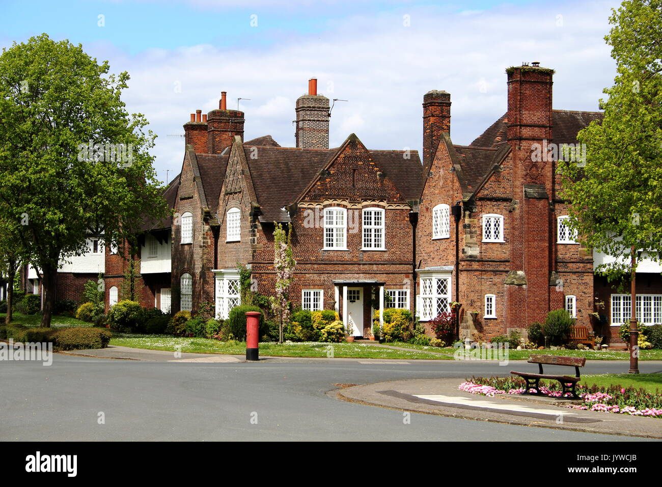 Port Sunlight Village, founded by soap king William Hesketh Lever in 1888, to offer a better quality of life to factory workers - Stock Image
