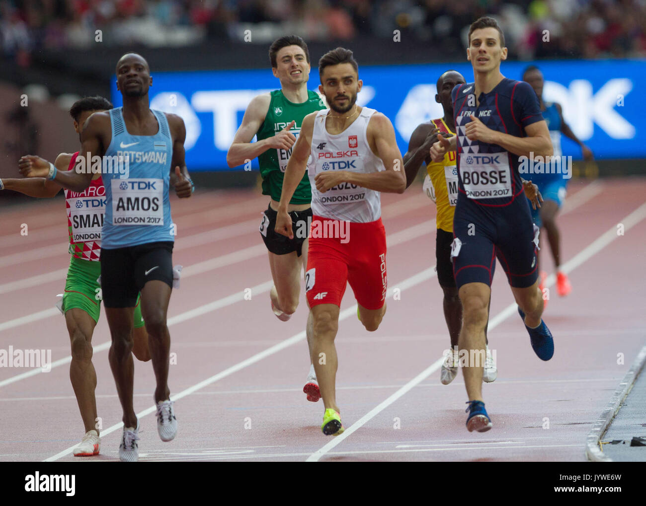 5 August 2017, London Stadium, East London, England; IAAF World Championships, Day2;   Nijel Amos , Adam Kszczot and Pierre Ambroise Bosse 5nd series  - Stock Image